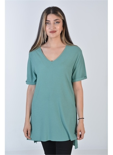 Zeren Kadın Mint V Yaka Ön Kısa Arka Uzun Tunik Yeşil